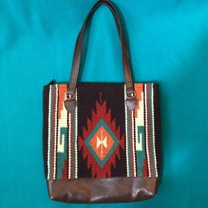 Southwestern Blanket Woven Tote with Vinyl Trim